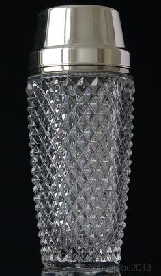 METÀ secolo COCKTAIL SHAKER Made in Germany, ca degli anni sessanta anni settanta cromato vetro cristallo, peso superiore: ca 1,35 libbre (606) /