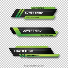 Pack of green abstract lower thirds Vector Lower Thirds, Game Ui Design, Letterhead Design, Web Banner Design, Infographic Templates, Banner Template, Grafik Design, Motion Design, Graphic Design Inspiration