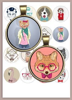 Hipster Animals Digital Collage Sheet /you by ThePrintablesWorld Diy Jewelry, Jewelry Making, Collage Sheet, Digital Collage, Craft Projects, Hipster, Printables, Scrapbook, Pendant