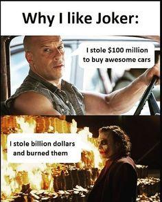 Joker,he is hero for villains Joker Meme, Funny Joker, Joker Love Quotes, Badass Quotes, Funny Relatable Memes, Funny Facts, Funny Quotes, Marvel Jokes, Marvel Funny