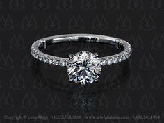 Solitaire engagement ring fleur-de-lis by Leon Mege