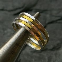 Stacking #ring mix faceted 1.3mm by #ajjstudios on Etsy