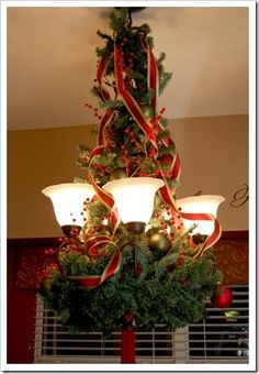 A fun holiday idea of how to dress up your chandelier! :)