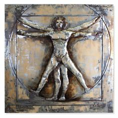 UNIQUE METAL WALL ART.    Inspired by the famous drawing made by Leonardo da Vinci this is one of our most special wall hangings. The Vitruvian Man is handcrafted out of metal and welded on the background plate and finished with a fine vintage painting and a lot of details. A modern & unique piece with a strong visual presence.      Fitting every room, no matter which style.  Check it out now by clicking the image above.