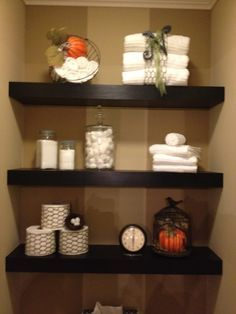 Chunky shelving bathroom | floating shelves decorated for fall 2013 25 4