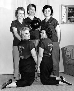 Norrona's Women's Bowling Team, winners in the Women's Division of the Sons of Norway Traveling Bowling League in the Los Angeles area, circa 1962. Left to right: Norma Lee, Jean Schori, Joyce Applen; kneeling, Mildred Kiessler and Lois Seeger. The Norronettes Ladies Auxilary was organized in 1945. Many of their projects, fundraising events, and other activities  promoted the culture and heritage of Norway. Sons of Norway. San Fernando Valley History Digital Library.