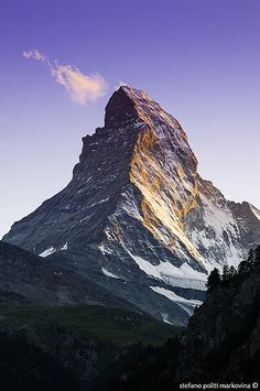 Last light of day on Matterhorn, Zermatt, Switzerland.