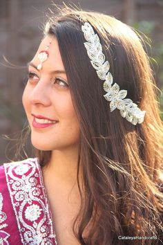 This intricate French Beaded hair vine is the ultimate in a luxury headpiece, the inspiration behind my design is an ethereal goddess. It is