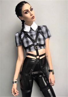 Bib collar on plaid crop top with top harness & faux leather bottom pants by caitmarks