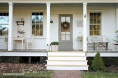 40 Rustic Farmhouse Front Porch Decorating Ideas January Leave a Comment Farmhouse porches are designed for comfort. They are usually large, inviting, and can accommodate the always favorite porch swing rocking chairs too! Farmhouse Front Porches, Rustic Farmhouse, Farmhouse Style, Rustic Table, Farmhouse Ideas, Veranda Design, Architecture Design, Front Porch Design, Porch Designs