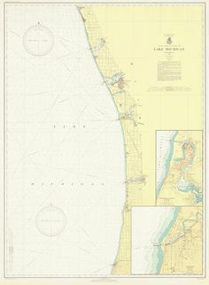 Lake Michigan - Eastern Shore Historical Map 1936
