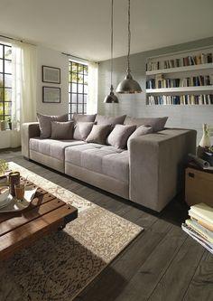 Sofa von CARRYHOME in Grau: bequem dank Wellenunterfederung