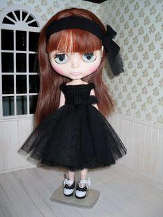 Elegant tulle black dress for Blythe headband by LittleGiftCove