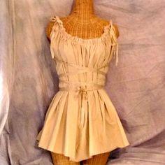 Gretel Fairytale Dress Beige Eco Corset Tunic Tan Tea Dyed Recital Dance Womens on Etsy, $55.00