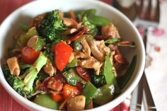 Barefeet In The Kitchen: Spicy Chinese Vegetable Stir Fry with Chicken and Bacon