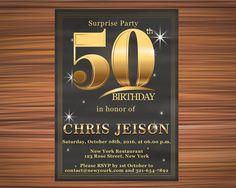 SURPRISE PARTY BIRTHDAY Surprise Birthday by UniqueGoldenCards Surprise Birthday, 50th Birthday, Rose Street, York Restaurants, Birthday Invitations, Rsvp, Party, 50 Year Anniversary, Fiesta Party