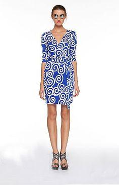 Diane von Furstenberg Vintage Julian Wrap Dress Swirl Blue ($325)