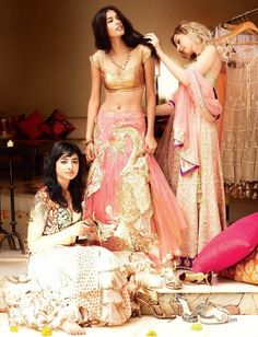 Editorial from Vogue India A soft pink version of that gorgeous peacock lengha! Indian Wedding Gowns, Indian Bridal, Indian Dresses, Indian Outfits, Indian Weddings, Desi Wedding, Gold Weddings, Vogue Wedding, Wedding Bride
