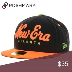 Atlanta SnapBack hat size 7 This New Era Originals Script Basic 59FIFTY fitted cap features an embroidered New Era namesake on the front, stitched New Era flag at wearer's left side and embroidered logo on the rear. Interior includes branded taping and a moisture absorbing sweatband. •Color: Black/Neon Orange •Made of 100% Polyester, Woven •Fitted •Structured Fit •High Crown •Normal Edc Accessories Hats
