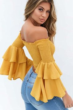 A Forever Summer Slash Neck Elastic Shoulder Crop Top Blouse Summer Top Women Flare Sleeve Tops Ladies Blouse Yellow XL Crop Top Outfits, Casual Outfits, Cute Outfits, Summer Outfits, Look Fashion, Fashion Outfits, Womens Fashion, Fashion Sale, Fashion Online