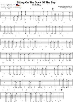 Sitting On The Dock Of The Bay - easy guitar tablature