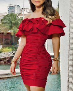 2020 Women Sexy Red Mini Dress Female Party Short Sleeve Dress Solid Off Shoulder Ruched Layered Ruffles Bodycon Dress Robe Bodycon, Red Bodycon Dress, Bodycon Dress With Sleeves, Slit Dress, Ruched Dress, The Dress, Short Sleeve Dresses, Mini Dresses, Club Dresses