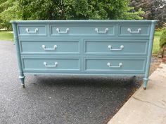 Beautiful blue dresser makeover..