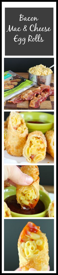 Bacon Mac Cheese Egg Rolls from Miss in the Kitchen