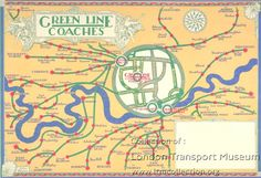 Poster; Green Line coaches, by John Dixon, 1931 Not so simple : Early posters incorporating road and rail service maps were often decorative, but not particularly easy to use. The Punch cartoon from 1911 suggests that some people found even the earliest Underground system map difficult. Poster (1983/4/3190) - Online Museum, London Transport Museum