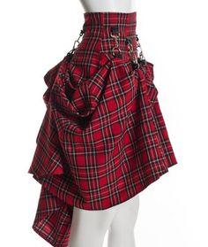 Plaid Black Red High Waist Steam Punk Victorian Skirt