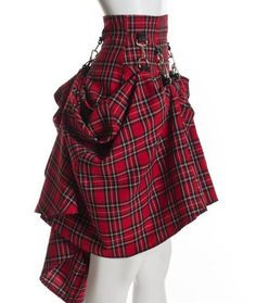 Plaid Black Red High Waist Steam Punk Victorian Skirt