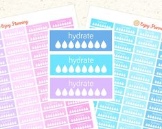 Printable Hydrate Planner Stickers Blue and pink by EnjoyPlanning