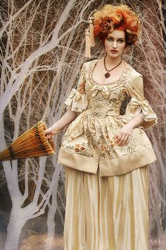 Silk and satin golden tan Marie Antoinette Victorian inspired costume dress. Perfect for Halloween! $245 via Etsy