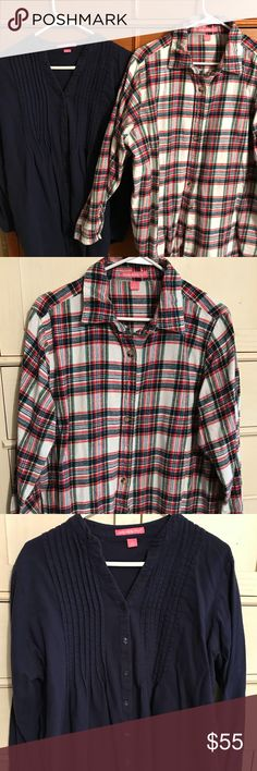 Feminine Flannels - Two Two Feminine flannel shirts from Woman Within. Both laundered, only navy shirt was worn once. Light colored shirt is red, navy, green, yellow, black on white background. Navy shirt has very cuteV-neck, pintuck detail & wears more like a tunic. Light shirt retails for $29.99, pintuck for $39.99, I'm sure they were purchased on sale & I will pass along the savings to you! Purchase 1 for $25.00 Tops Button Down Shirts