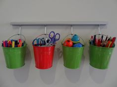 Use small buckets to store pencils, crayons and other craft related items