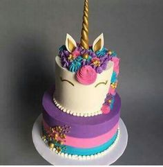 Birthday is a special day for everyone, and a perfect cake will seal the deal. Fantasy fictions create some of the best birthday cake ideas. 10th Birthday Parties, 7th Birthday, Birthday Ideas, Unicorn Foods, Unicorn Cakes, Unicorn Birthday Cakes, Unicorn Head, Purple Unicorn, Rainbow Unicorn