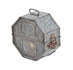 """Urban Remains Chicago :: intact American vintage industrial galvanized steel """"universal"""" hinged film reel case with original latch and drop handle"""