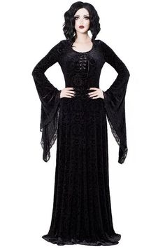Mai Burnout Velvet Maxi Dress [B] #killstar