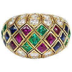 1960s Cartier Multi-Gemstone Gold Ring   From a unique collection of vintage fashion rings at https://www.1stdibs.com/jewelry/rings/fashion-rings/