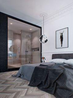Chambre avec parquet chevron point de Hongrie et salle de bain ouverte grande baie vitrée verriere