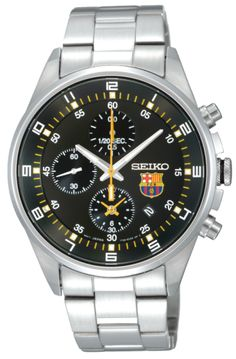 SEIKO    SEIKO   Model: FC Barcelona   Price: €161.79   Movement: Quartz Chronograph   Functions: Hours, Minutes, Seconds, Day of the Month, Chronograph   Case: Stainless Steel  Size: 40mm   Bracelet: Stainless Steel  Glass: Mineral     (Para residentes em Portugal, ao preço listado acresce o IVA à Taxa em vigor)