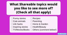 We love finding great stories and images to entertain our members. But we want to know what you really love to read about. Do you wnat to see more cute animals? Do you love laughin