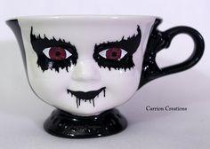 Creepy Magenta Eyed Corpse Paint Doll Face