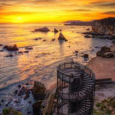Pismo beach , California – Stairways to nowhere  Once they gave access to the beach from an upper boardwalk , but they rotted away over the years