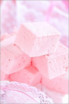 Homemade pink marshmallows