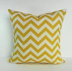 Yellow Chevron Decorative Pillow Cover Corn Yellow by pillows4fun, $21.00