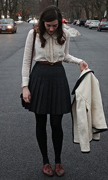 Basics = white top + neutral skirt + black tights + brown shoes + neutral blazer
