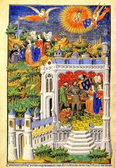 King Clovis receiving the fleurs-de-lis (1423). Unknown artist, from the Bedford…