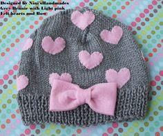 Grey Hat  and Pink  HEARTS Baby  Beanie  | NinisHandmades - Children's on ArtFire