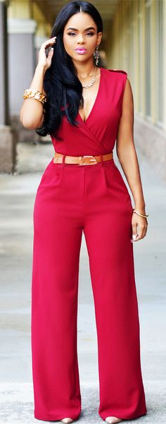 Plunging Neck Jumpsuit